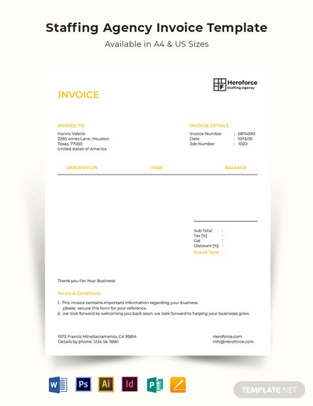 Staffing Agency Invoice Template