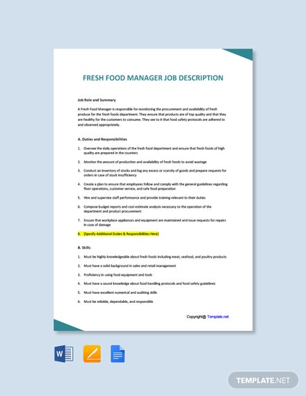 Free Fresh Food Manager Job Description Template