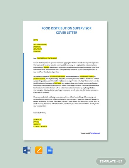 Free Food Distribution Supervisor Cover Letter Template