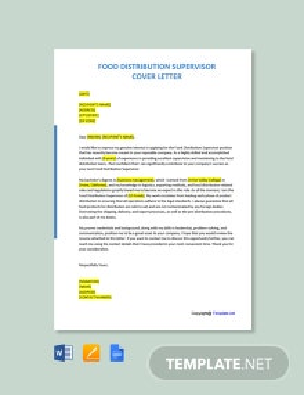 Free Food Distribution Supervisor Cover Letter Template