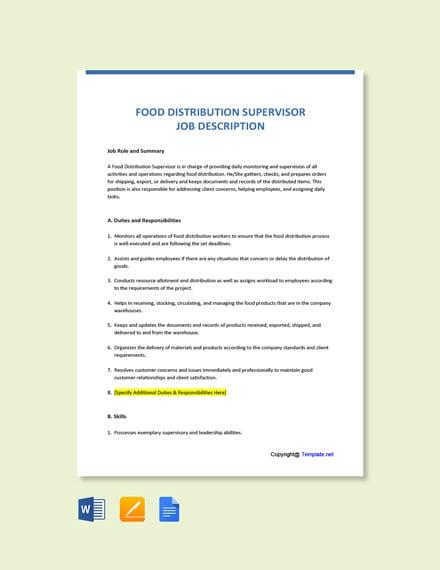 Free Food Distribution Supervisor Job Ad/Description Template