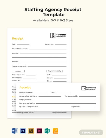 Staffing Agency Receipt Template