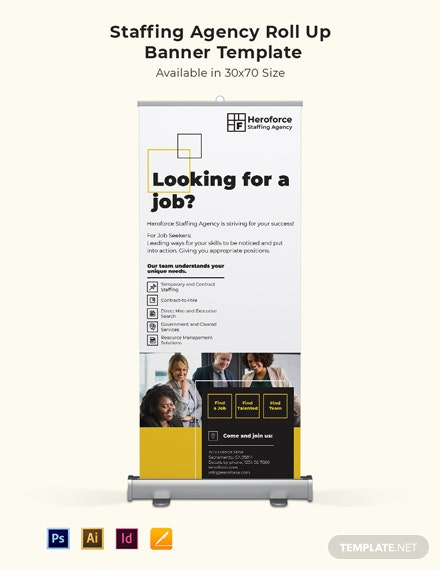 Staffing Agency Roll Up Banner Template