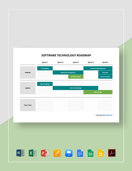 Free Sample Software Technology Roadmap Template