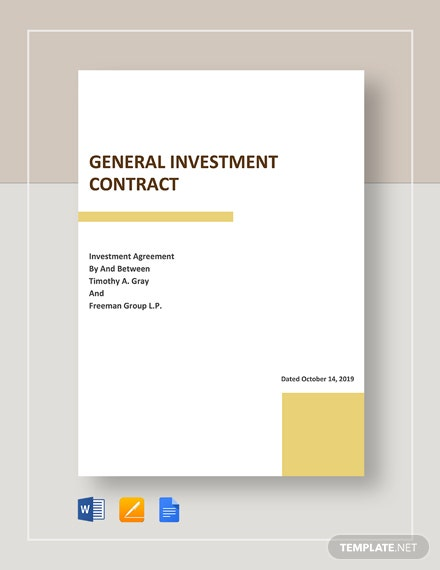 General Investment contract Template