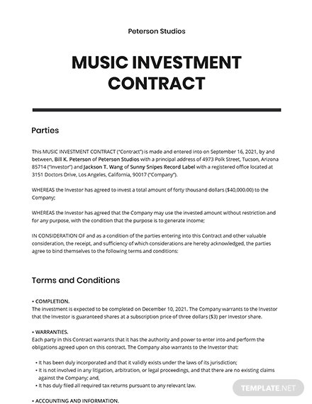 Music Investment contract Template