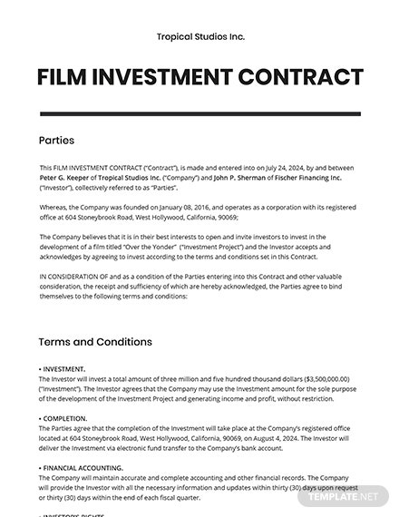 Film Investment Contract Template