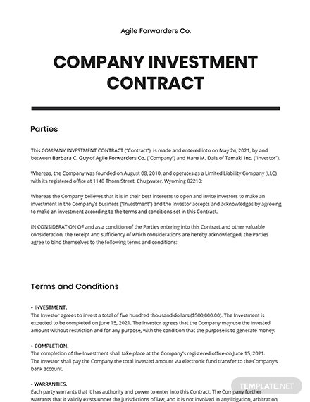 Company Investment contract