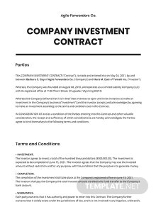 Company Investment contract Template