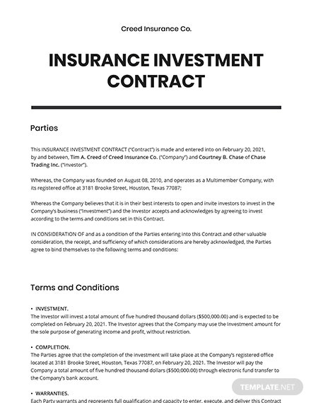Insurance Investment contract Template