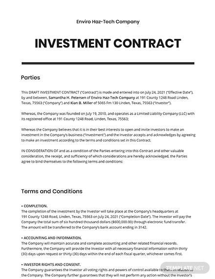 Draft Investment contract Template