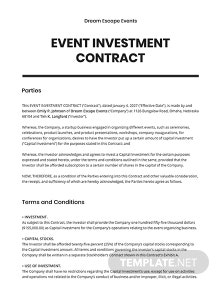 Event Investment contract Template