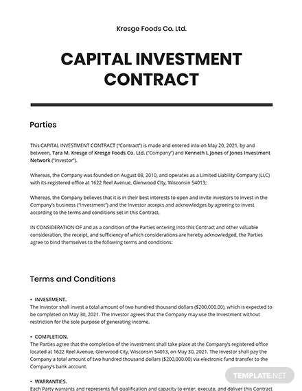 Capital Investment contract Template