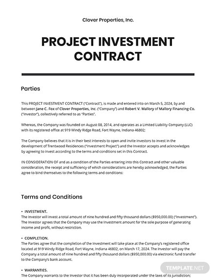 Project Investment Contract Template