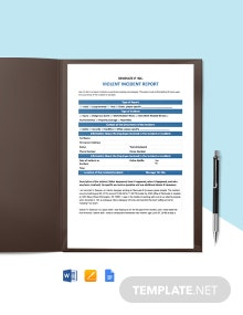 Violent Incident Report Form Template