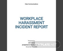 Workplace Harassment Incident Report Form Template
