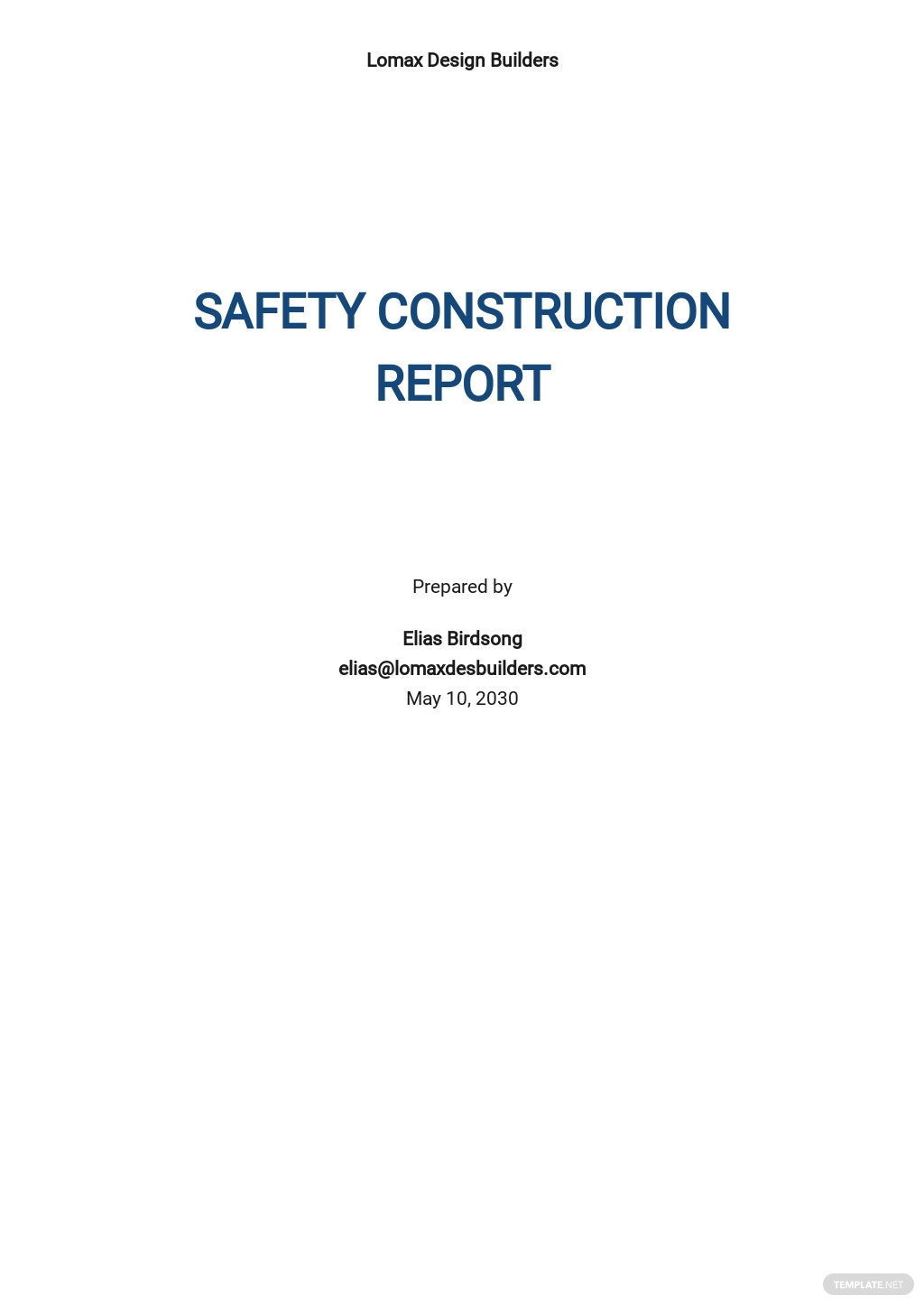 Basic Construction Report Template