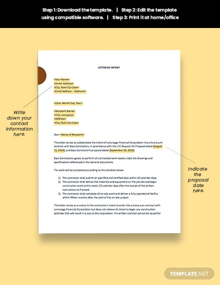 Construction Letter of Intent Download