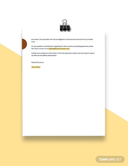 Construction Letter of Intent Format