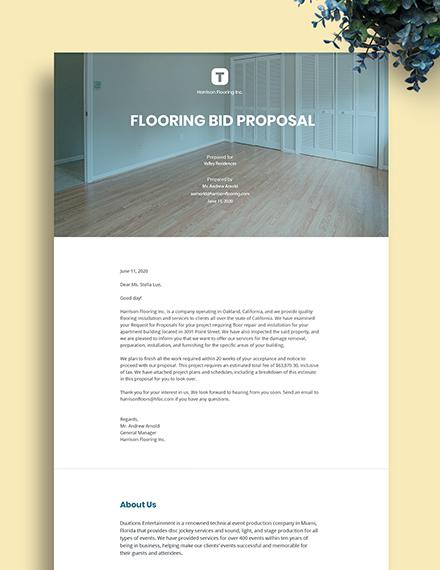 Flooring Bid Proposal Template
