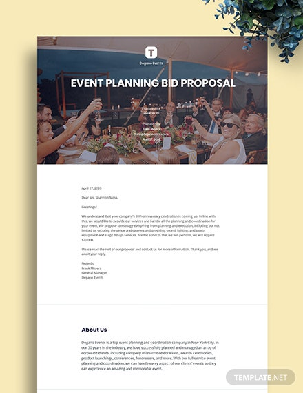 Event Bid Proposal Template