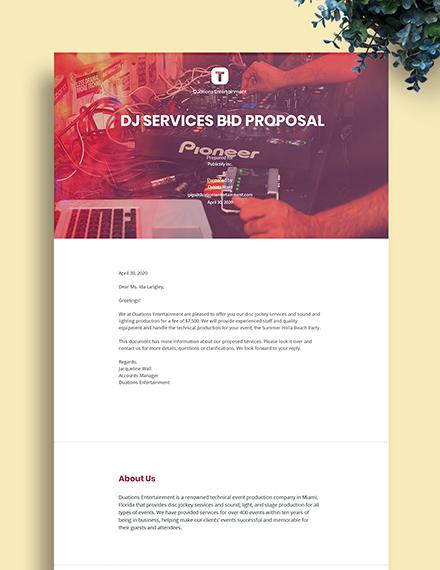 DJ Bid Proposal Template