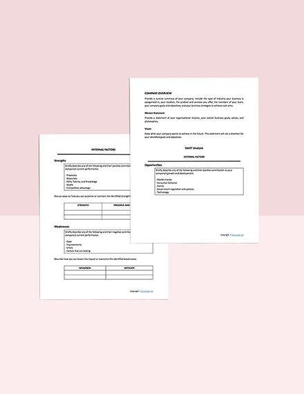 sample SWOT Analysis Template sample