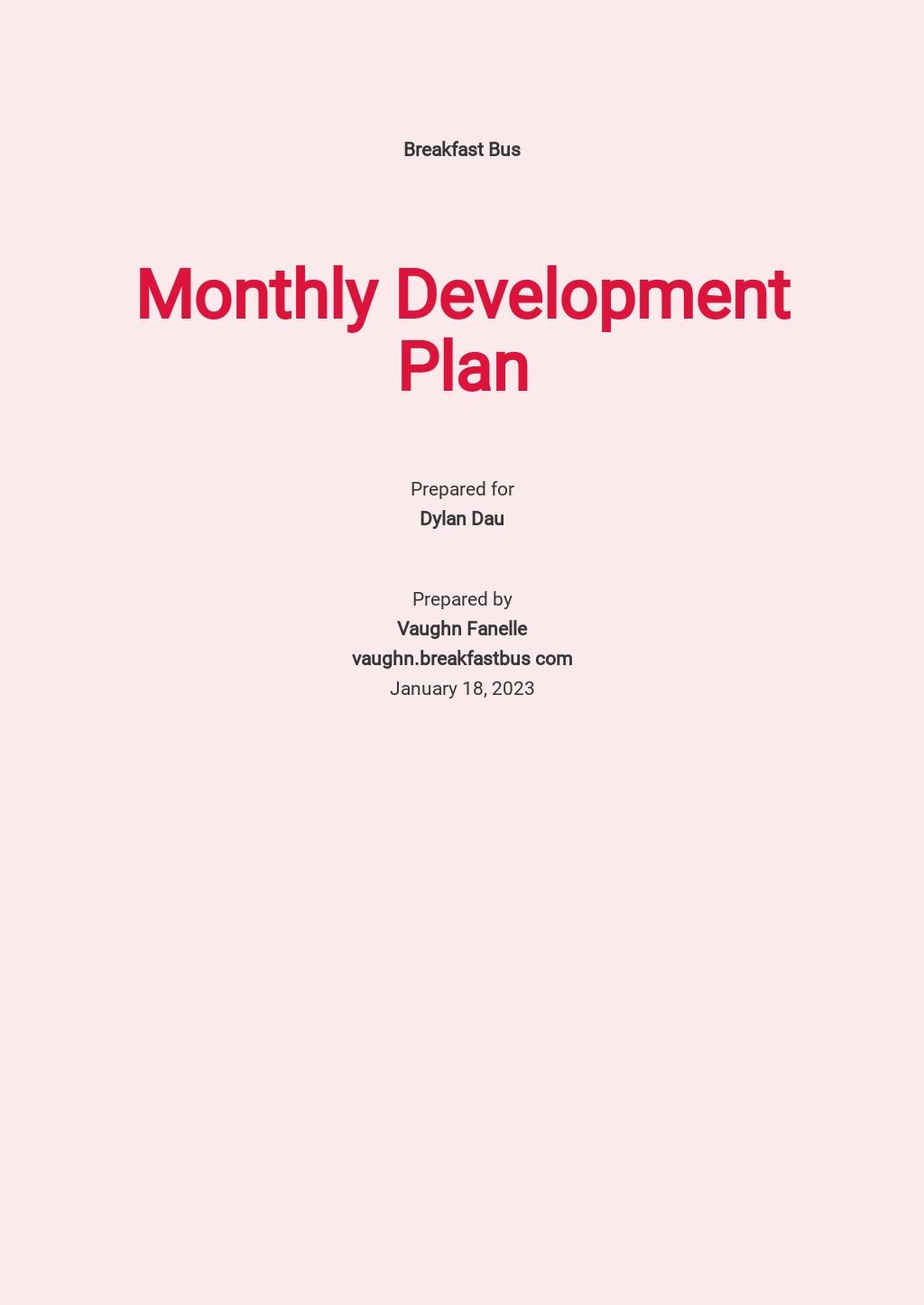 Monthly Development Plan Template