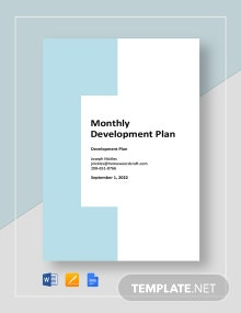Monthly Development Plan Template