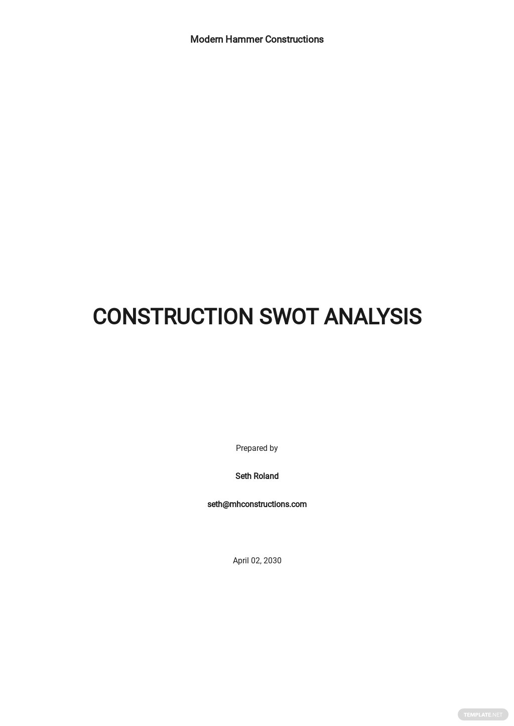 Simple Construction Swot Analysis Template