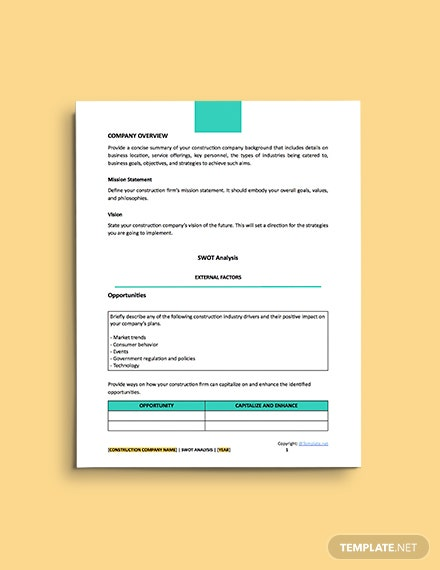 free construction simple Swot Analysis Template
