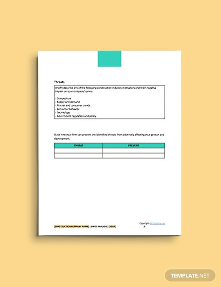 free construction simple Swot Analysis format
