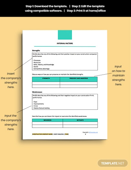 sample free construction simple Swot Analysis