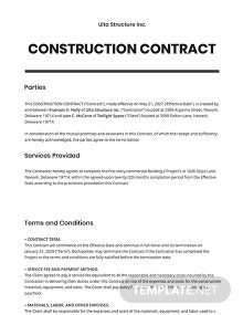 Free Simple Construction Contract Template