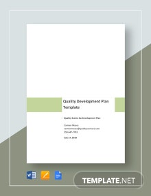 Quality Development Plan Template
