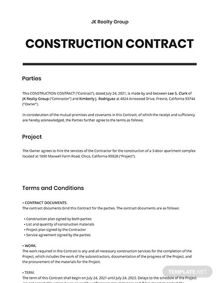 Free Basic Construction Contract Template