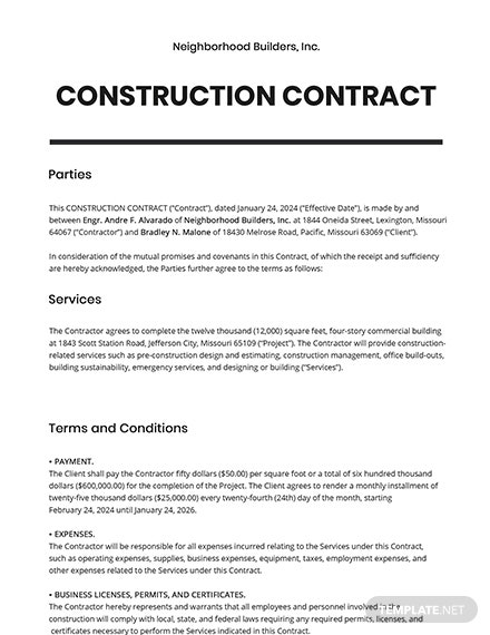 Free Sample Construction Contract Template