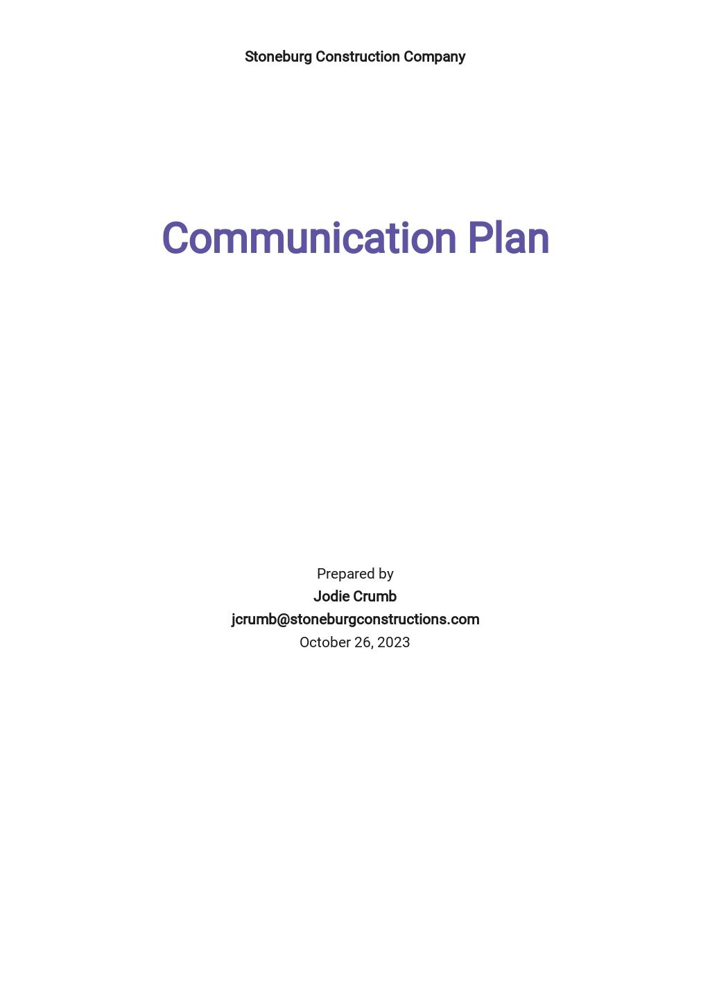 Construction Communication Plan Template