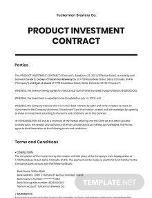Product Investment Contract Template