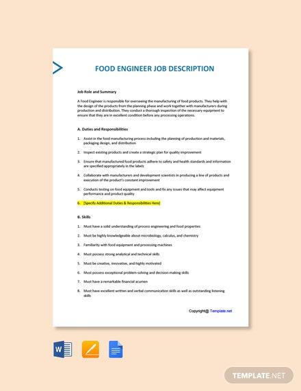Free Food Engineer Job Description Template