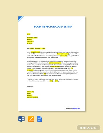 Free Food Inspector Cover Letter Template