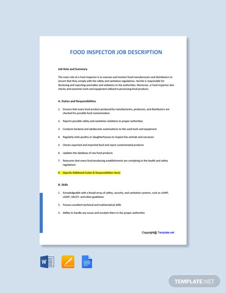 Free Food Inspector Job Description Template
