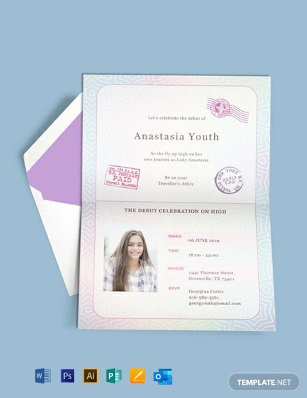 Free Passport Debut Invitation Template