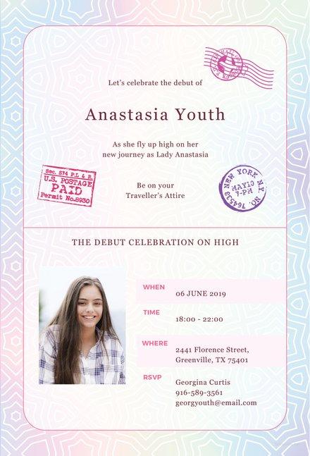 Free Passport Debut Invitation Template