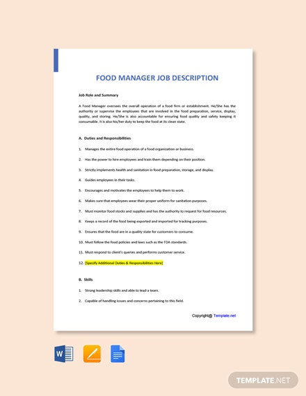 Free Food Manager Job Ad/Description Template