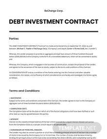 Debt Investment Contract Template