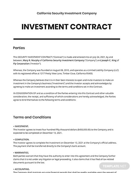 Security Investment Contract Template