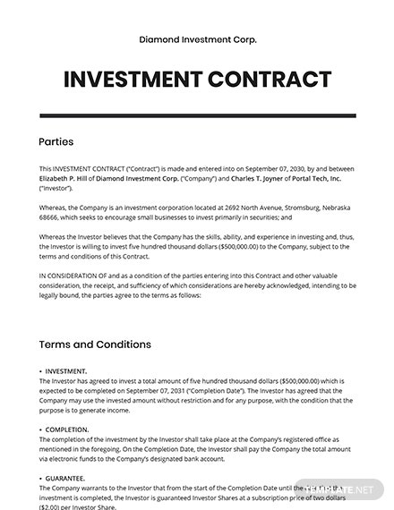 Basic Investment Contract Template