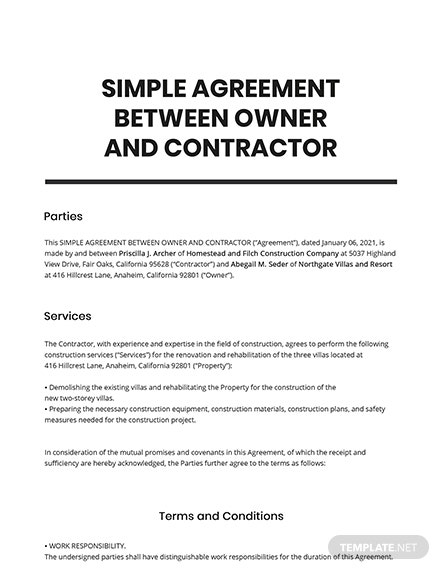 Free Simple Agreement Between Owner and Contractor Template