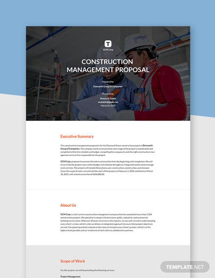 Simple Construction Management Proposal Template